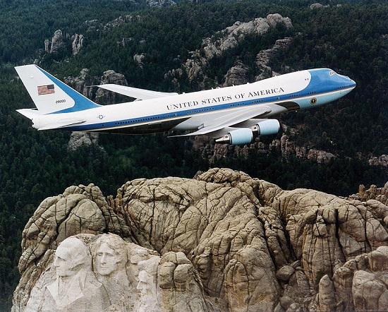 Air Force One over Mt Rushmore
