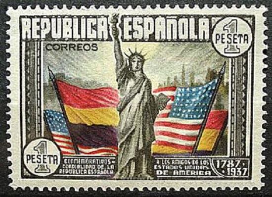 Stamp 150 aniversary US constitution 1937 Spanish Republic